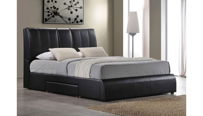 lexy black leather bed with drawer
