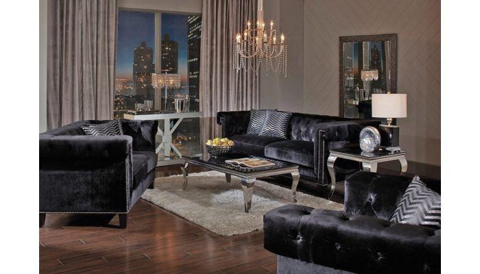 Praten Black Velvet Sofa Collection