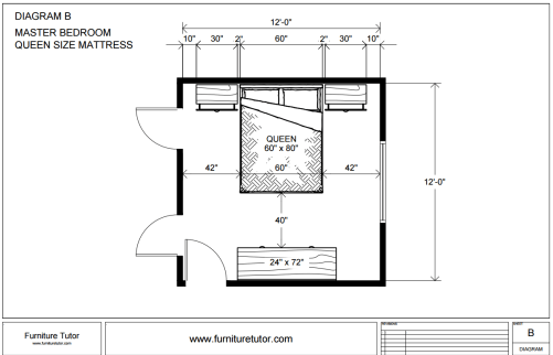 Master Bedroom Queen Size Diagram B