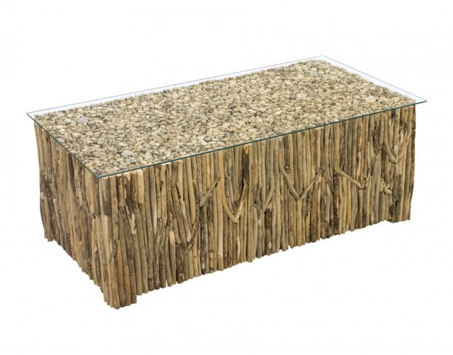 driftwood rectangular coffee table with glass top furniture world