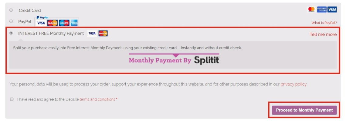 Choose Splitit at checkout