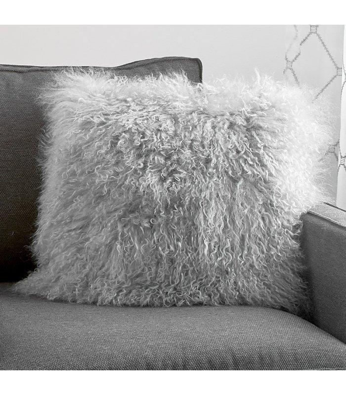 grey mongolian lamb fur pillow cushion