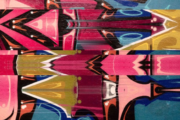 Red Urban graffiti glitch mural wallpaper design