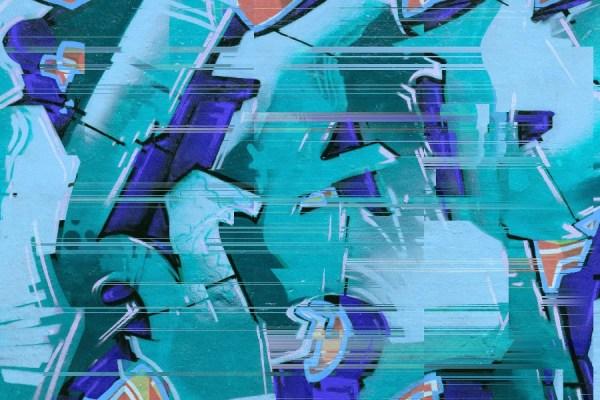 graffiti style mural wallpaper in blue