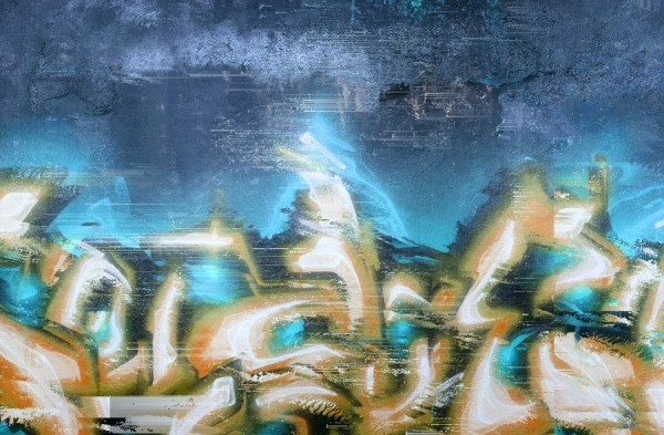 Urban Glitch 03 graffiti on distressed wall with digital effects in turquoise blue colour