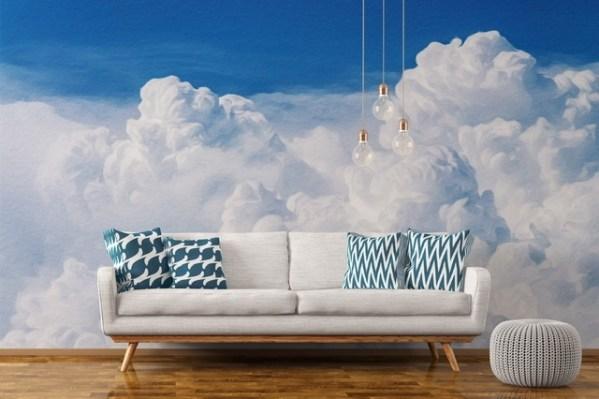 Cloud wallpaper behind sofa