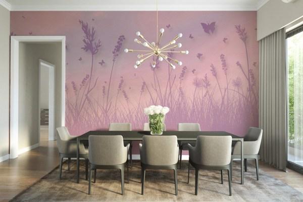 butterfly field dining room wallpaper