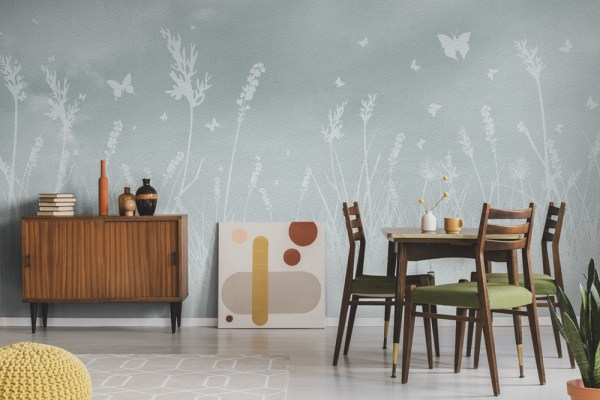 dining room wallpaper with butterflies in field