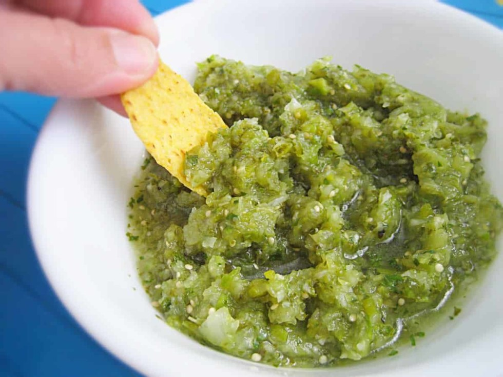 Fresh Salsa Verde, easy and worth it! Fresh, spicy with good bite.
