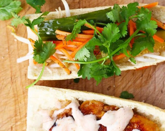 Easy Chicken Bahn Mi Sandwich | French Vietnamese Fusion