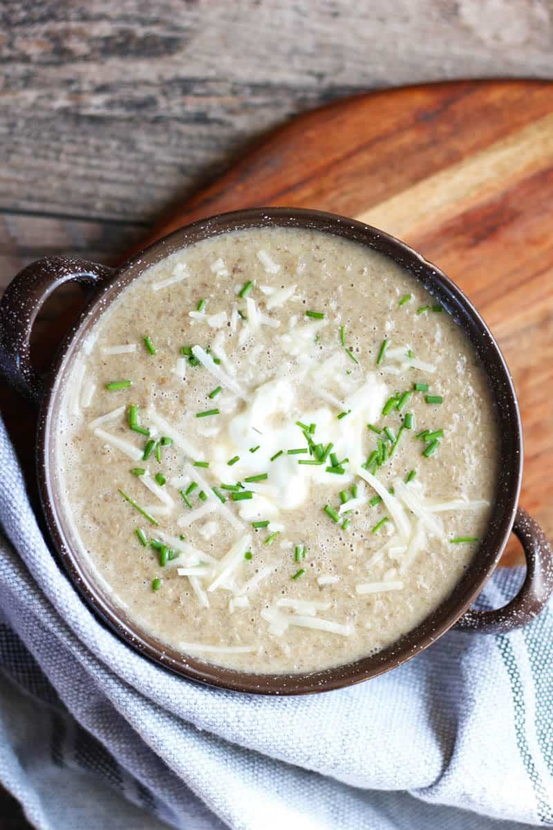 French Mushroom Soup, a creamy and earthy soup perfectly seasoned with shallots, sherry, garlic and parmesan. A quick and easy soup for everyday, try it!   FusionCraftiness.com