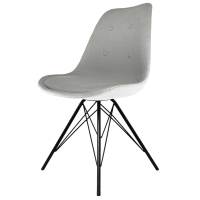 Eiffel Inspired Grey Fabric Dining Chair with Black Metal Legs