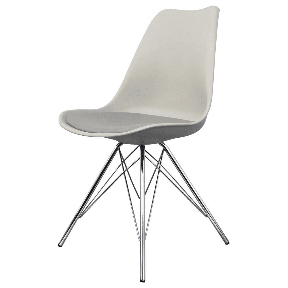 light grey chair back posture uk buy eiffel inspired dining with chrome metal legs plastic