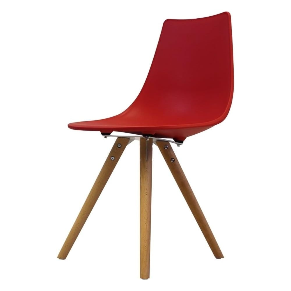 Iconic Red Plastic Dining Chair with Light Wood Legs at