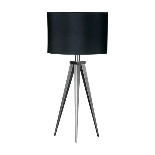 small resolution of satin nickel small tripod table lamp with black shade