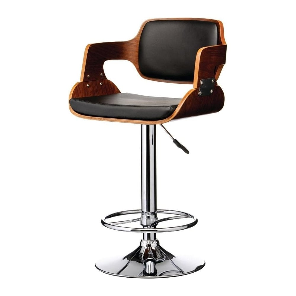 Buy Walnut Wood and Black Faux Leather Retro Bar Stool