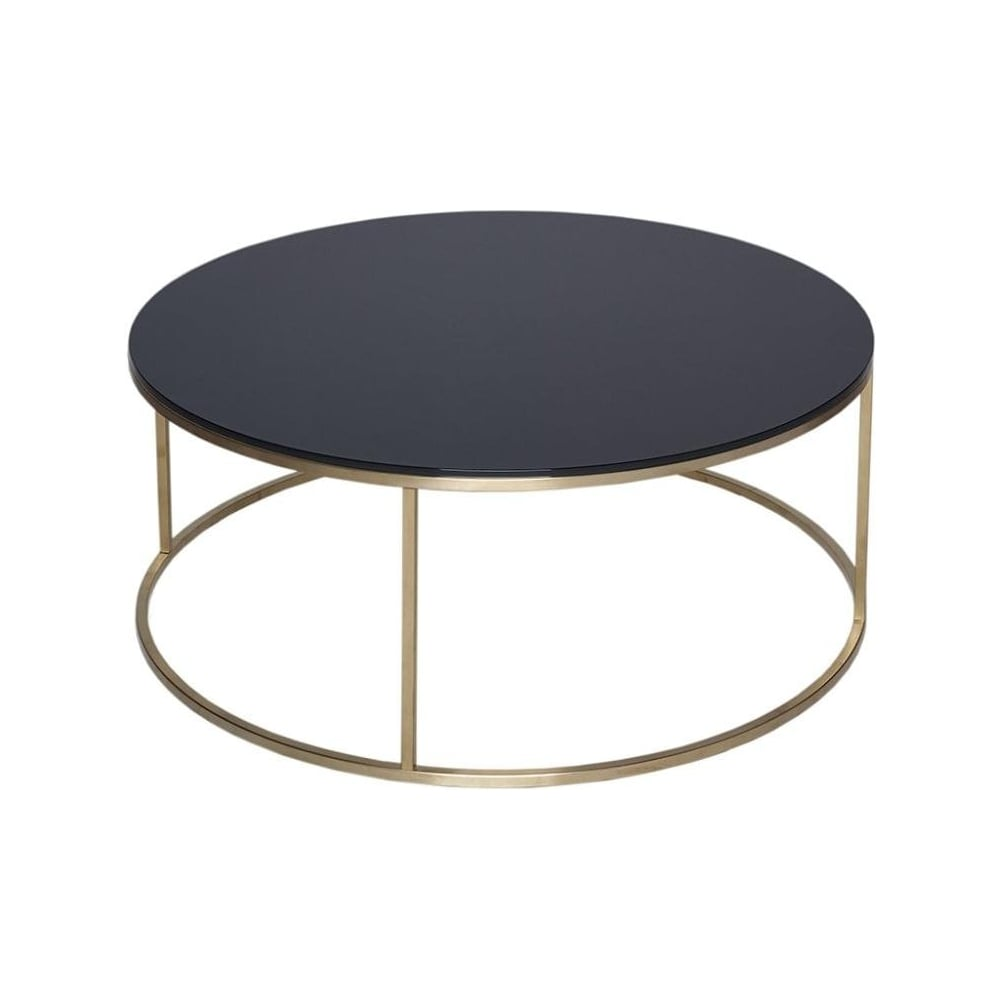 gillmore black glass and gold metal contemporary circular coffee table