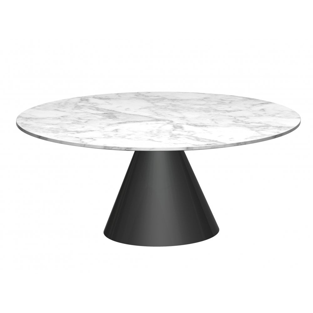 Small Round Marble Coffee Table With Conical Black Base Now At Fusion