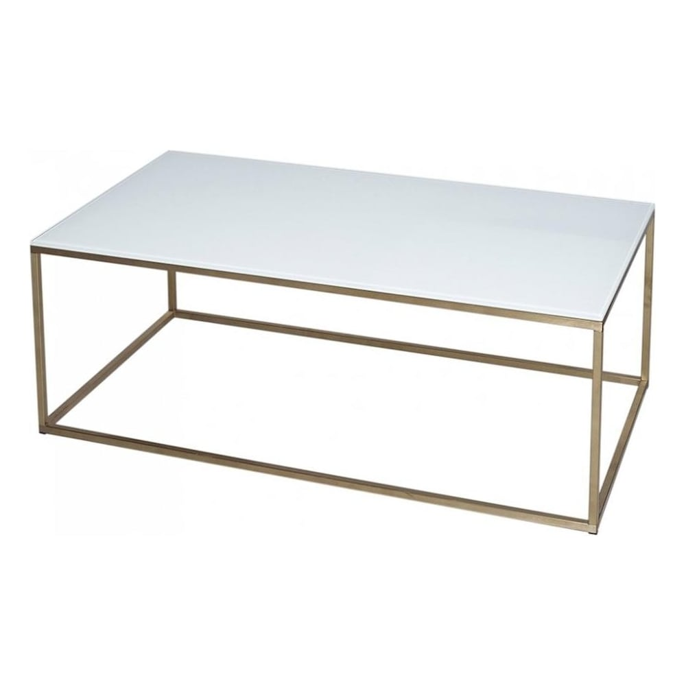 gillmore white glass and gold metal contemporary rectangular coffee table
