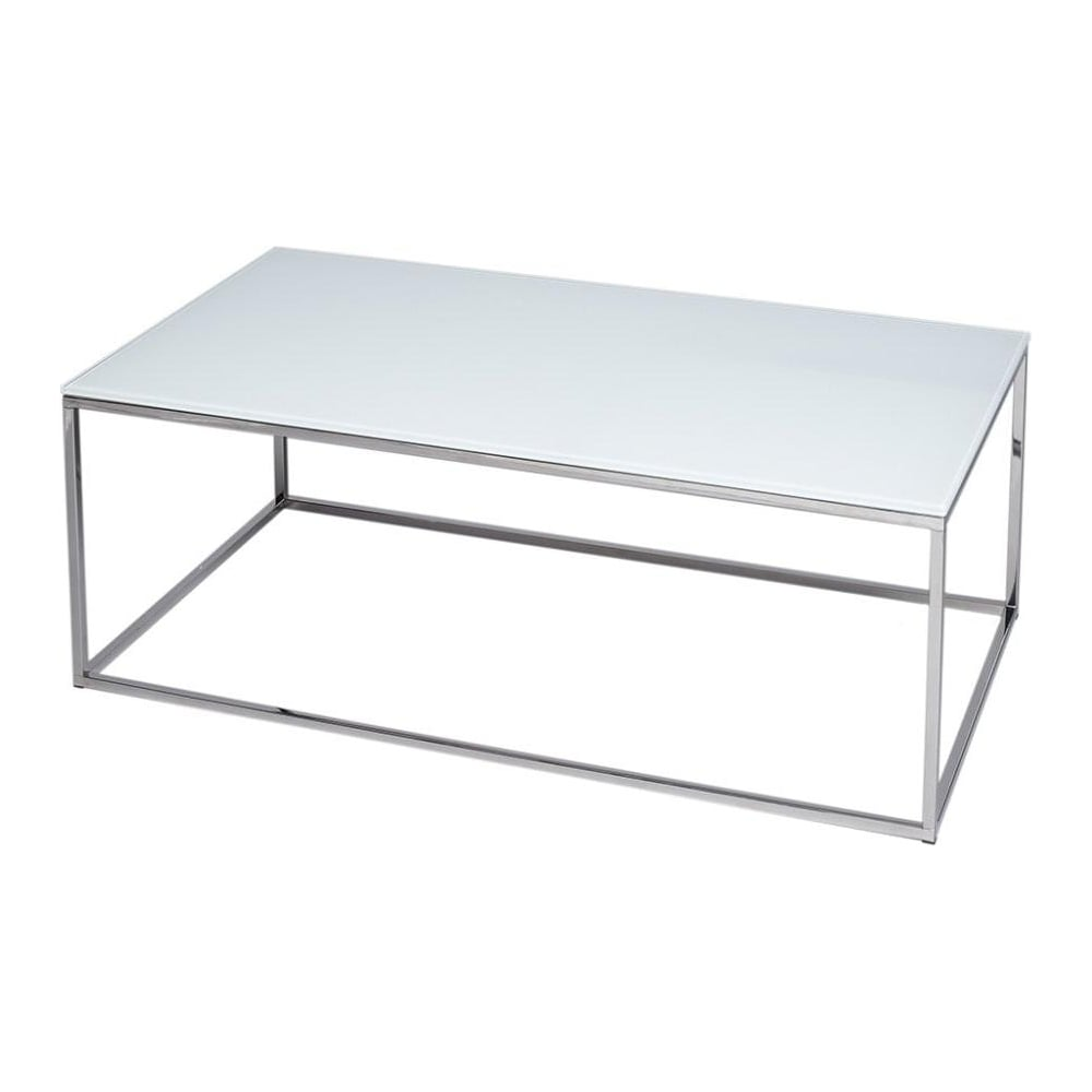 gillmore white glass and silver metal contemporary rectangular coffee table