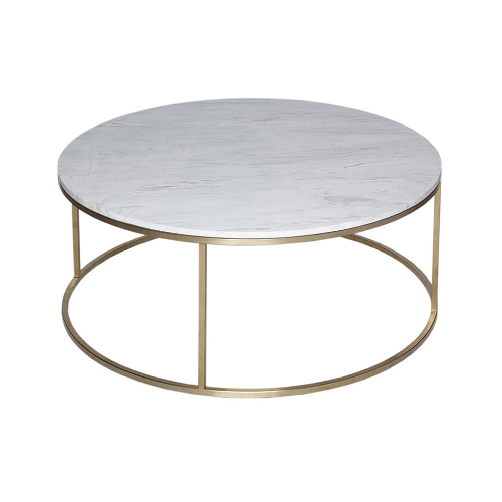 gillmore white marble and gold metal contemporary circular coffee table