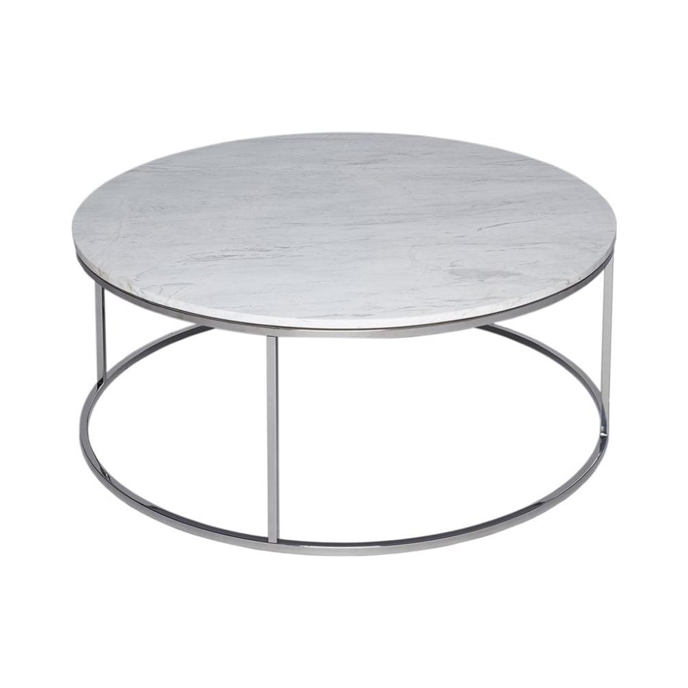 gillmore white marble and silver metal contemporary circular coffee table