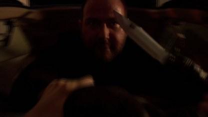 Stroud shows Angela his Crocodile Dundee knife