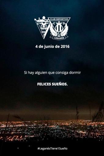 Sin duda los momentos previos a ascender eran vividos con mucho hermetismo en el Leganés, muestra de ello este cartel. Foto: Leganés