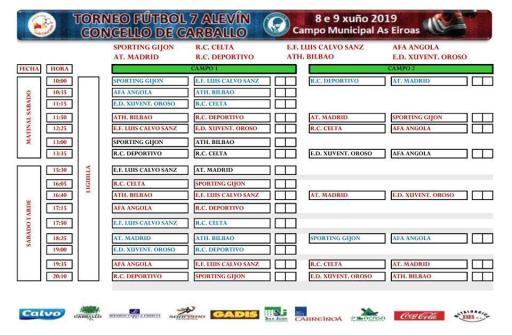 XV Torneo Internacional Infantil de Fútbol 7 de Carballo 2019. AFA Campeón. Resultados 01