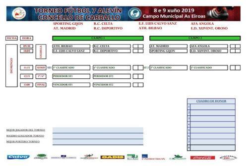 XV Torneo Internacional Infantil de Fútbol 7 de Carballo 2019. AFA Campeón. Resultados 02