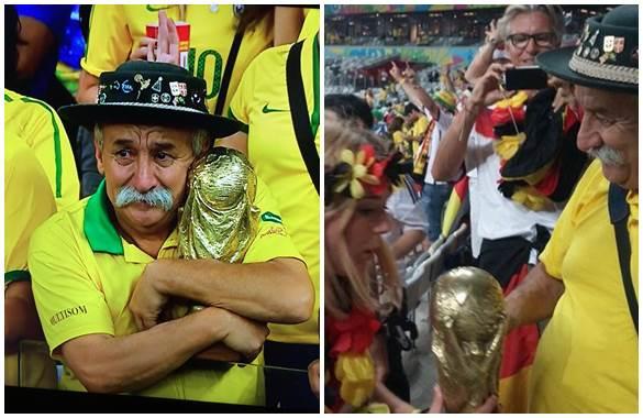 La secuencia de imágenes: a la izquierda, el aficionado abrazado a la Copa; a la derecha, momento en el que se la regala a la hincha teutona.