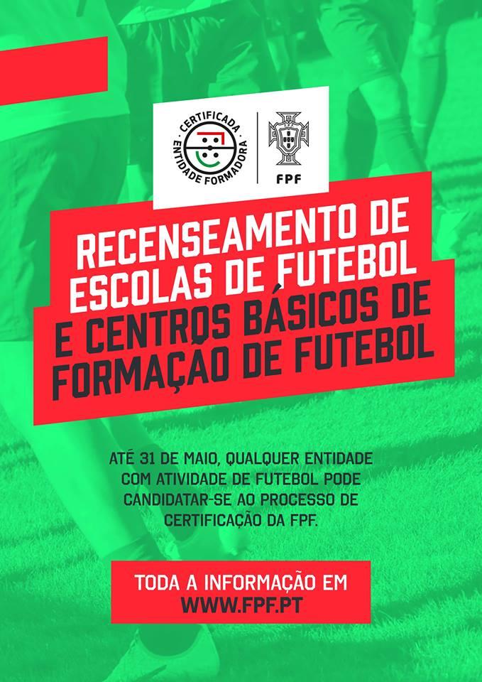Decorre até 31 de Maio de 2018 o processo de recenseamento de Escolas de  Futebol 59159a1a153be