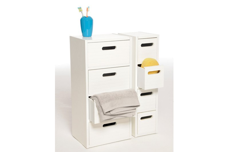 Wide bathroom 4 drawer chest in White  Futon Company