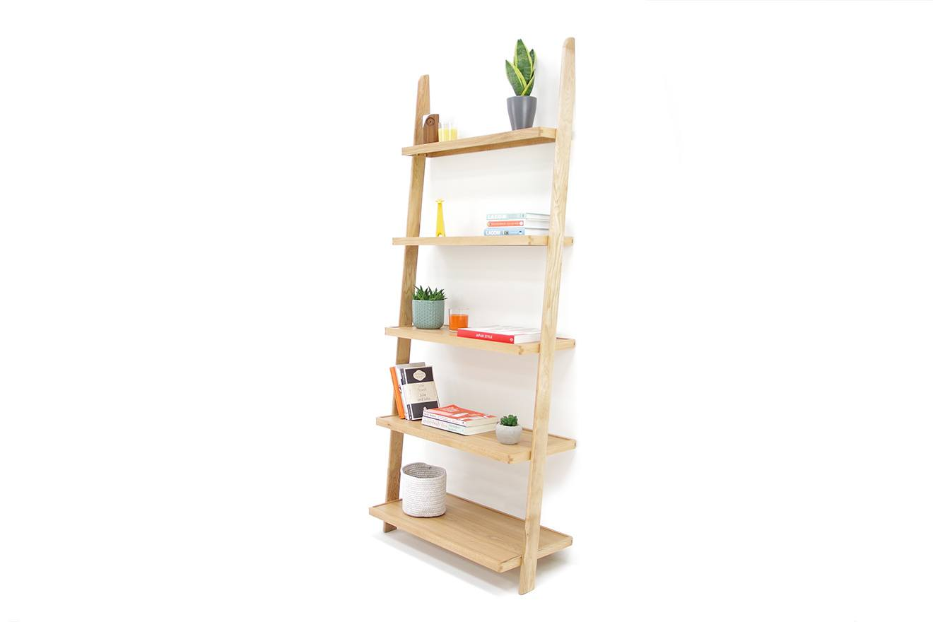 Oak Wide Leaning Ladder Shelves