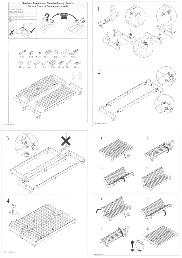 Assembly instructions for Futon Sofa Bed frames