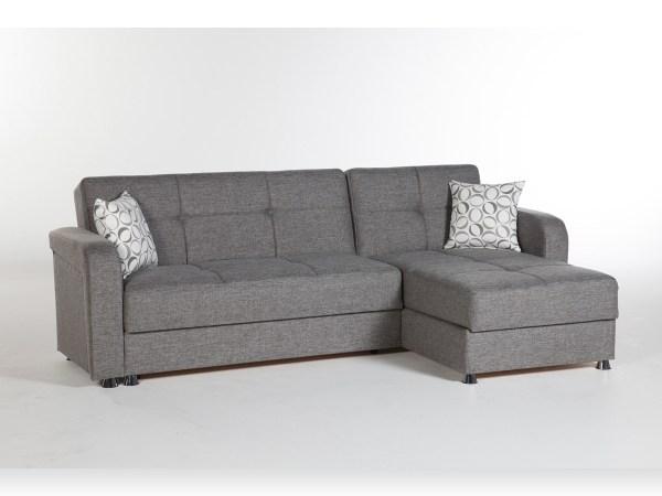 Harmony Sectional Sofa Bed Diego Gray at Futon World