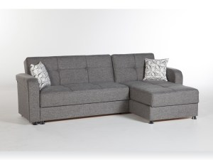 Harmony Sectional Sofa Bed Diego Gray at Futon World
