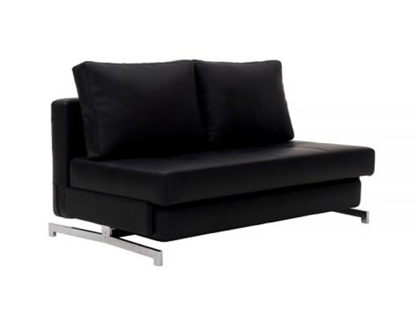 Black Leather Modern Futon Sofa couch - Futon World