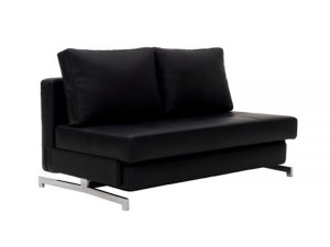 Black Leather Modern Futon Sofa couch - Futon World