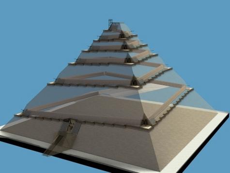 Un couloir interne courant juste sous la surface le pyramide : c'est l'hypothèse de Jean-Pierre Houdin. A chaque angle, une encoche à ciel ouvert permet de manœuvrer les pierres pour leur faire prendre le virage. Grâce à lui, il est possible de monter les pierres jusqu'au sommet. Une rampe externe est visible également, mais elle est très réduite et ne sert qu'à la descente des ouvriers.Crédit: Dassault Systèmes