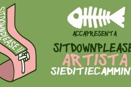 """La locandina dell'evento """"Sitdownplease!"""" organizzato da Acca Atelier"""