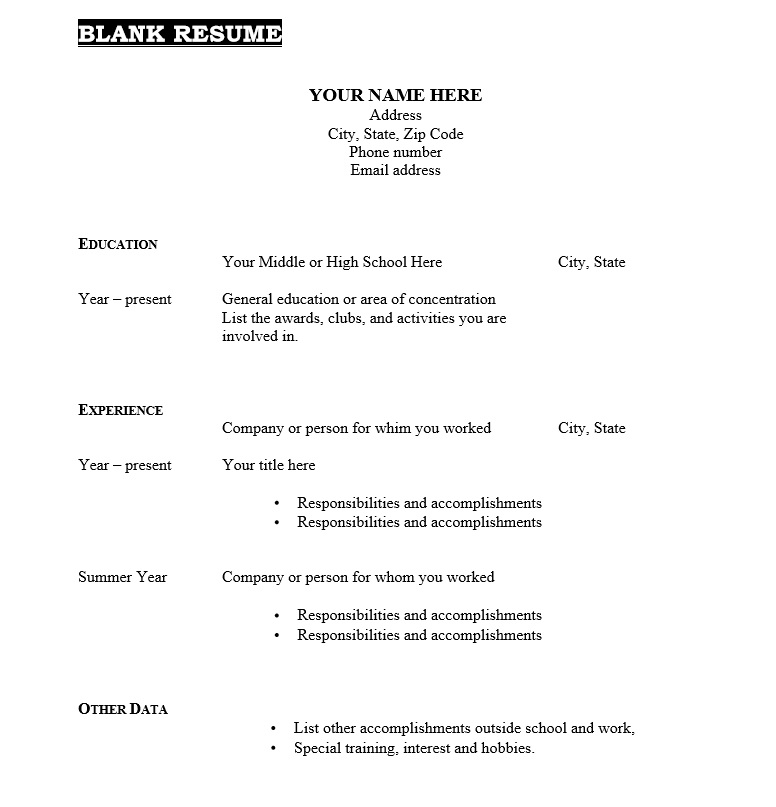 Pick fill in the blank template pick fill in the blank template : Fill In The Blank Resume Pdf Free Resume Templates