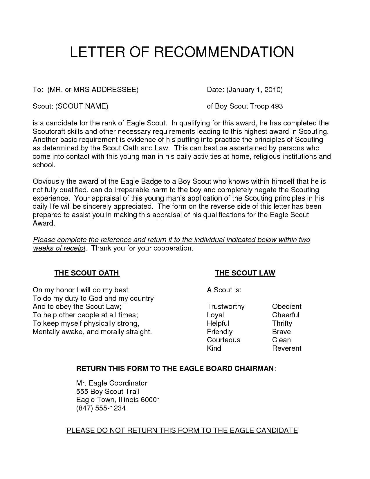 Eagle Scout Recommendation Letter Request Template