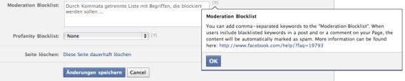 Facebook Blockliste