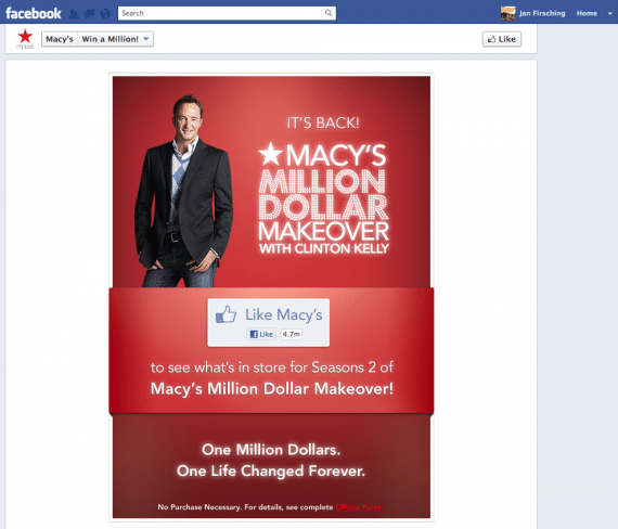 Facebook Chronik Fangate von Macy's
