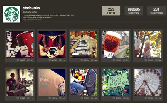Unternehmen auf Instgram - Beispiel Starbucks