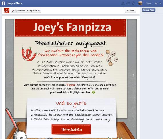 Facebook Kampagne Joey's Pizza Fanpizza