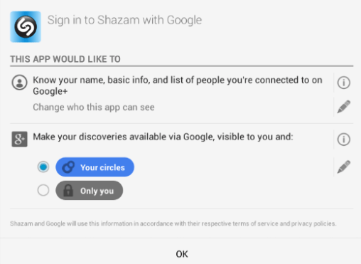 Google+ Login Permission Abfrage Shazam