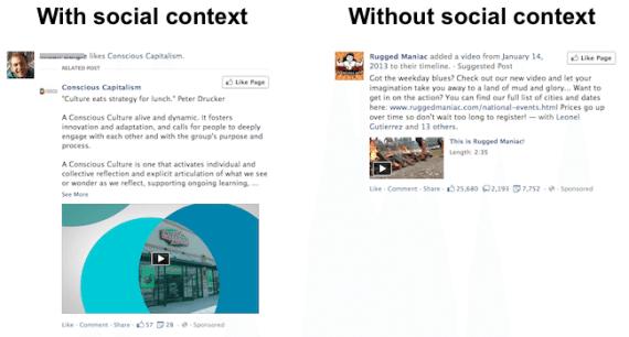 Darstellung Facebook Anzeigen mit sozialem Kontext