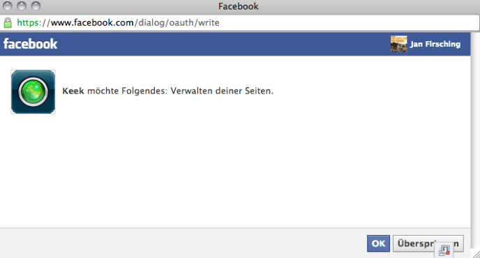 Facebook App Berechtigungen - Dialog (Seiten)